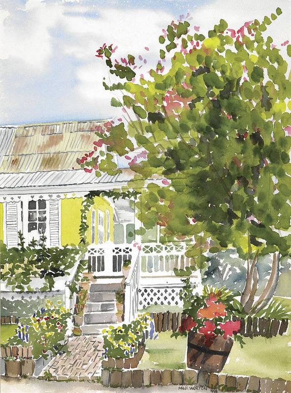 Jamaican Cottage Montego Bay Pumbago Bauganvillia Art Print featuring the painting Fairfield Cottage by Anji Worton