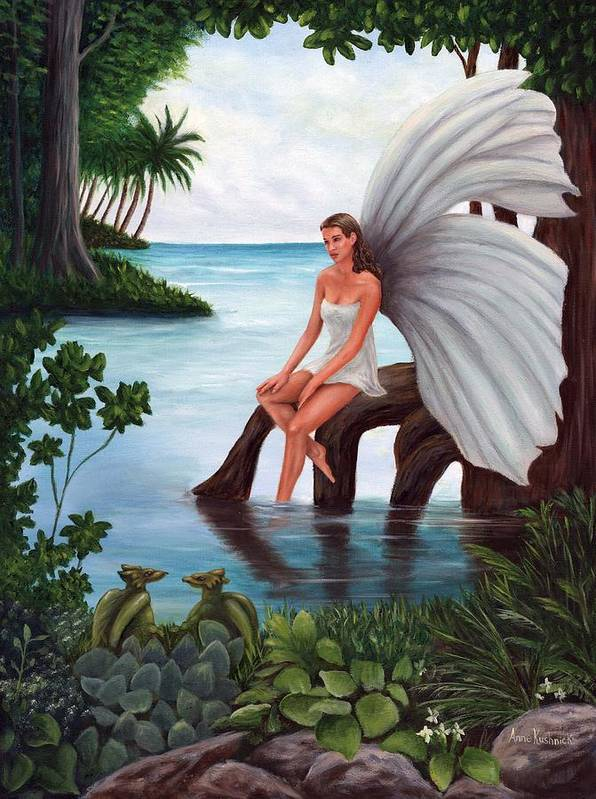 Fairies Art Print featuring the painting Fairies Glade by Anne Kushnick