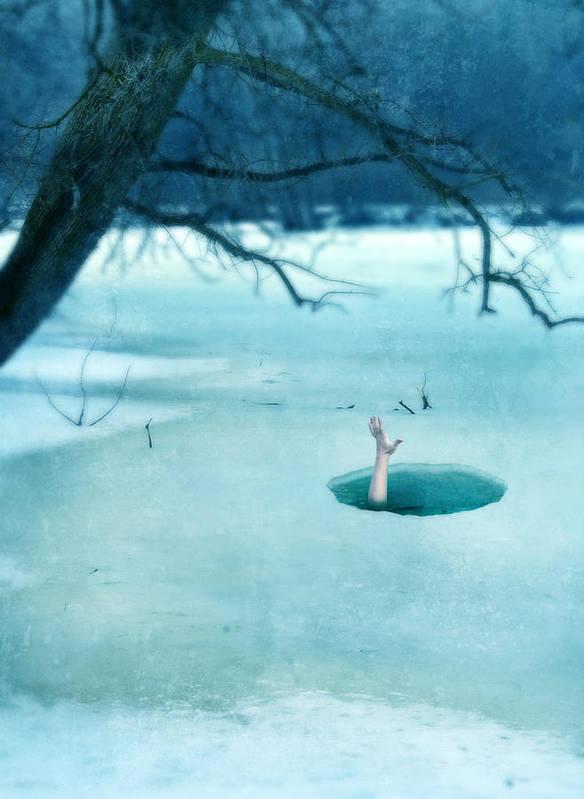 Hand Art Print featuring the photograph Fallen Through The Ice by Jill Battaglia