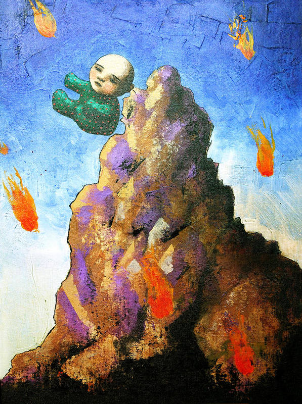Figure Art Print featuring the painting Falling Off The Mountain by Pauline Lim