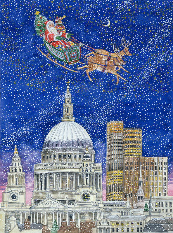 Eve; St;paul's Cathedral; Snowing; Sleigh; Reindeer; Presents; Tree; Gifts; Santa Claus; City; Sky Scraper Print featuring the painting Father Christmas Flying Over London by Catherine Bradbury
