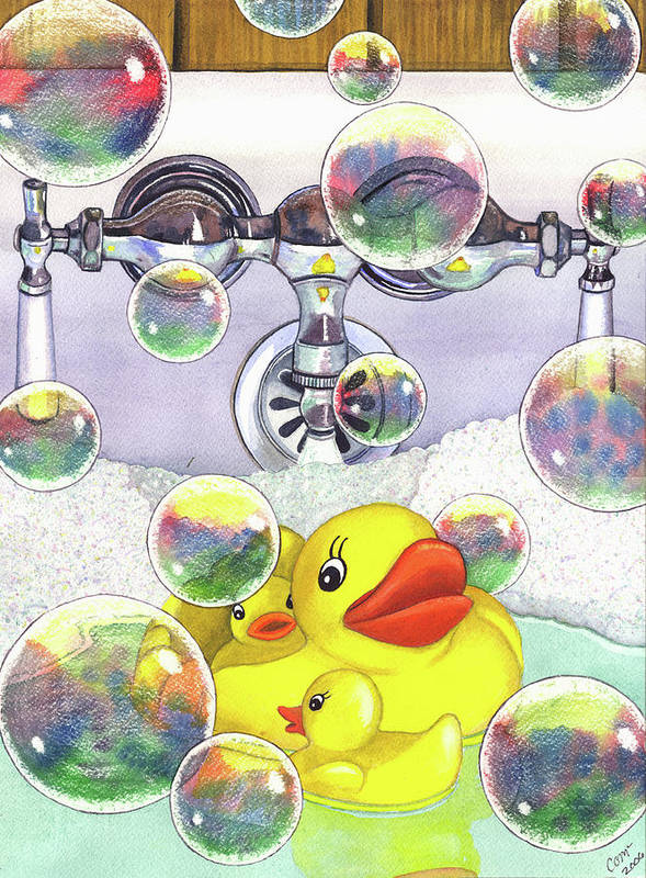 Bubbles Art Print featuring the painting Feelin Ducky by Catherine G McElroy