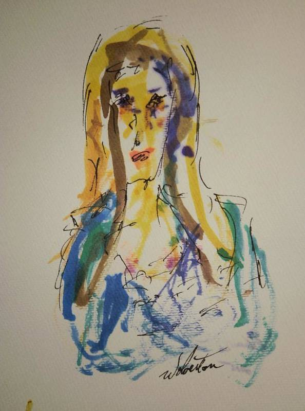 Portrait Art Print featuring the painting Female Face Study P by Edward Wolverton