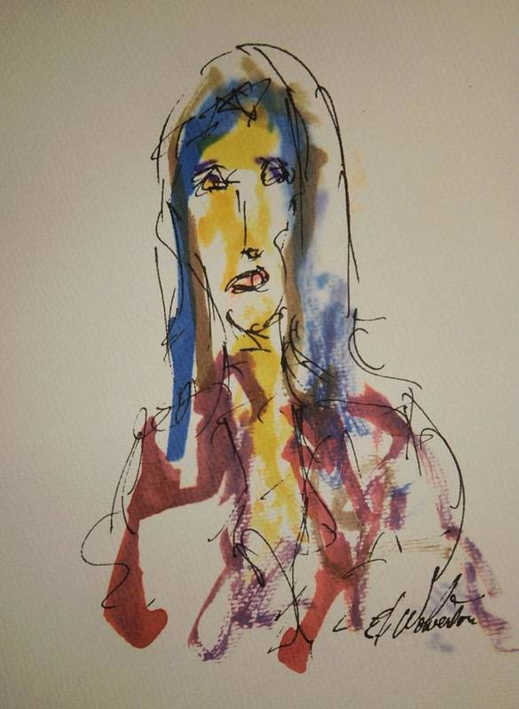 Portrait Art Print featuring the painting Female Face Study U by Edward Wolverton