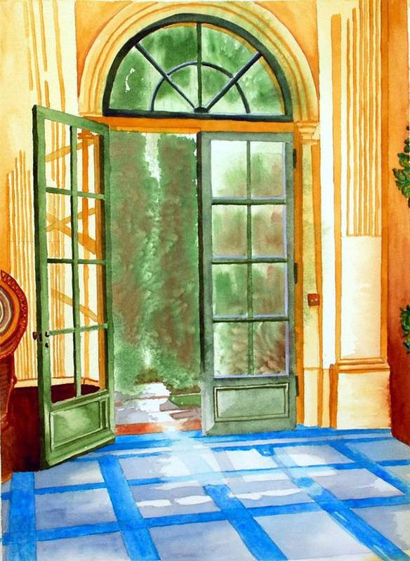 Watercolor Art Print featuring the painting Filoli Tea House by Gerald Carpenter