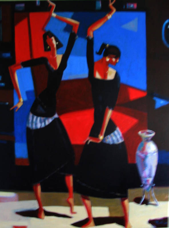 Figure Art Print featuring the painting Finger Dance by Ihab Bishai