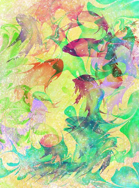Abstract Print featuring the digital art Fish Dreams by Rachel Christine Nowicki