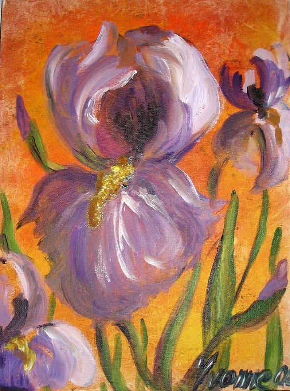 Flower Art Print featuring the painting Flag Iris by Yvonne Ayoub