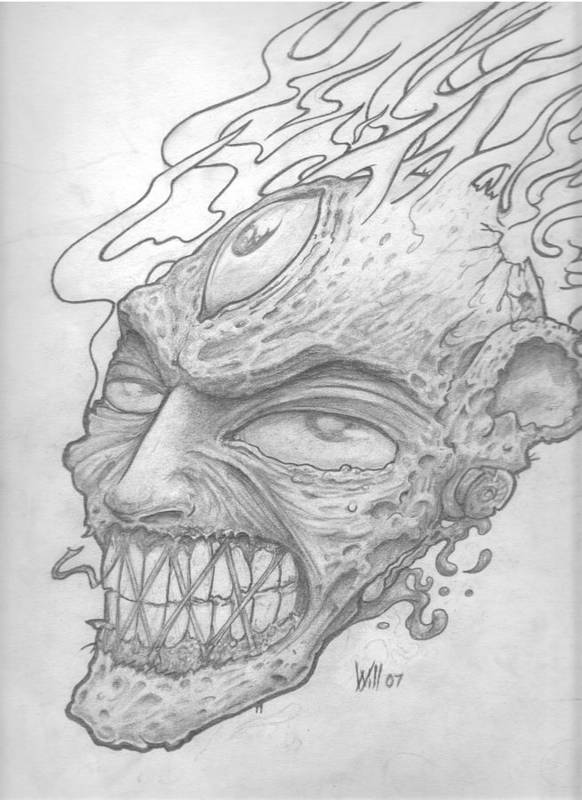 Zombie Art Print featuring the drawing Flamehead by Will Le Beouf