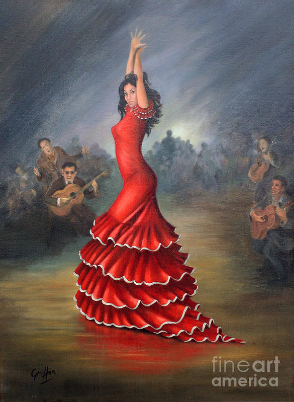 Flamenco Art Print featuring the painting Flamenco Dancer by Mai Griffin
