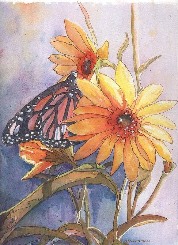 Flower Art Print featuring the painting Flower And Monarch by Robynne Hardison