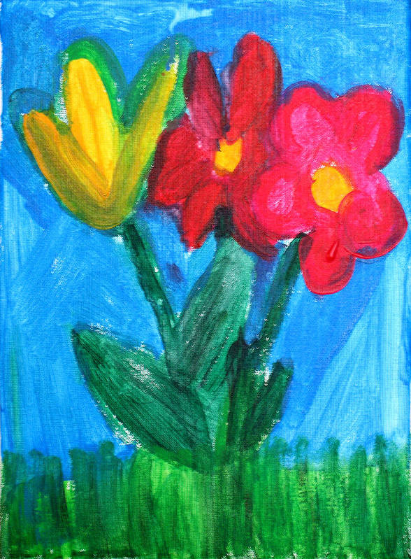 Flowers Art Print featuring the painting Flowers by Ann Lyons