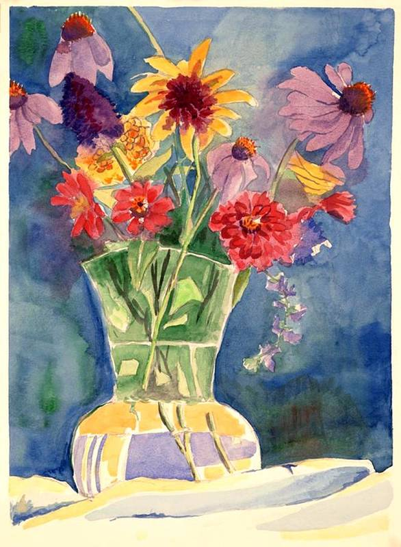 Flowers In Glass Vase Art Print featuring the painting Flowers In Glass Vase by Judy Swerlick
