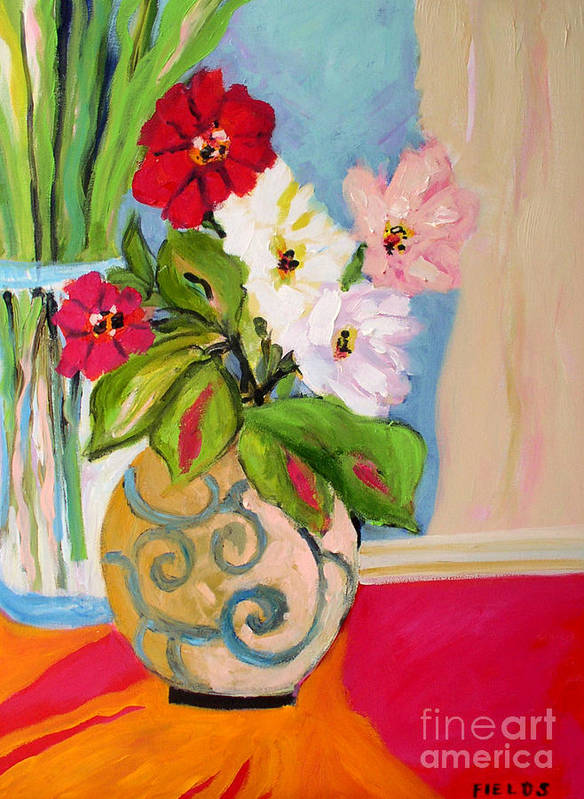 Flowers Art Print featuring the painting Flowers In Vases by Karen Fields