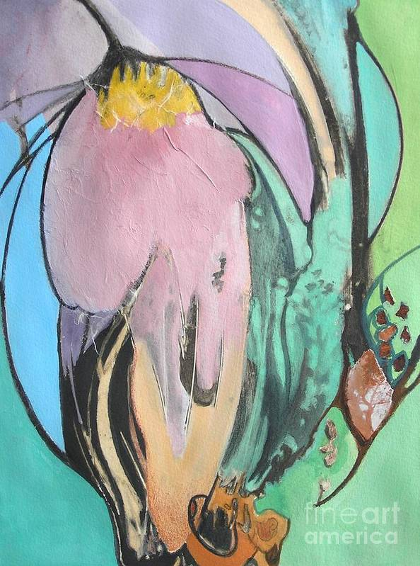 Abstract Art Print featuring the painting Flowers To Seeds by Barbara Couse Wilson