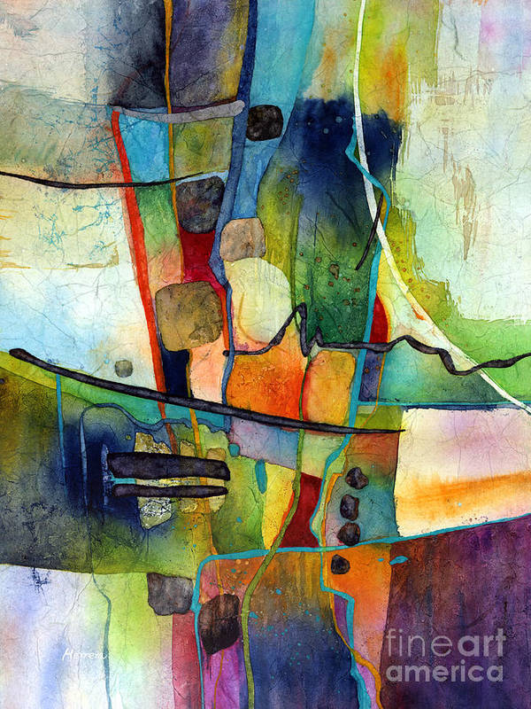 Abstract Art Print featuring the painting Fluvial Mosaic by Hailey E Herrera