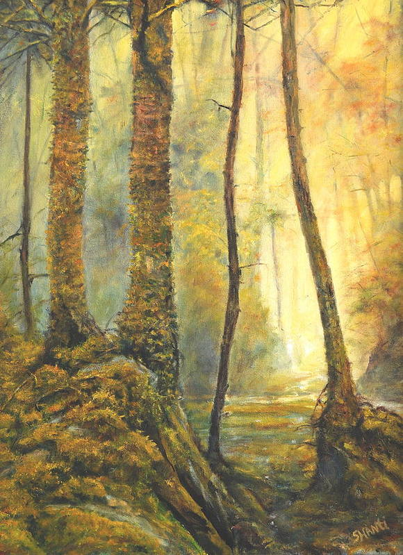 Landscape Impressionist Forest Art Print featuring the painting Forest Wonderment by Craig shanti Mackinnon