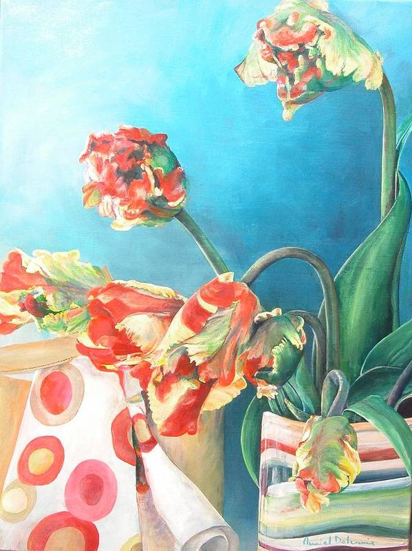 Still Life Art Print featuring the painting Foulard by Muriel Dolemieux