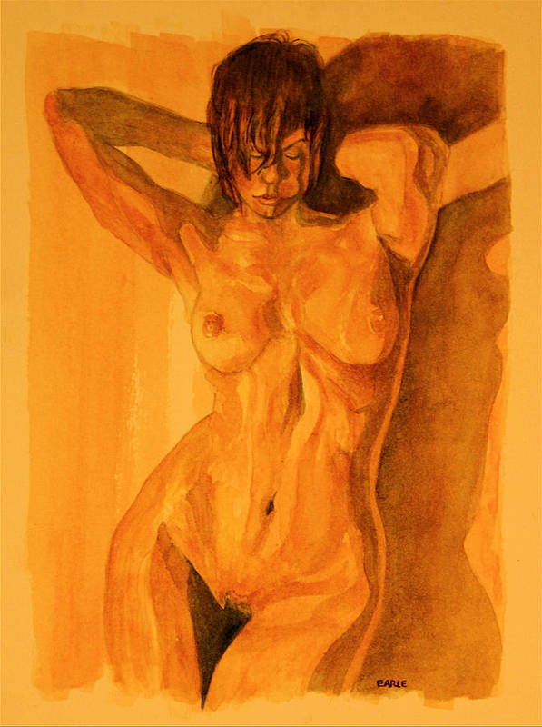 Female Nude Art Print featuring the painting Francesca by Dan Earle