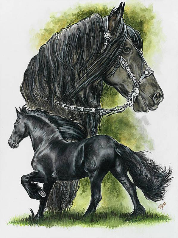 Horse Art Print featuring the mixed media Friesian by Barbara Keith