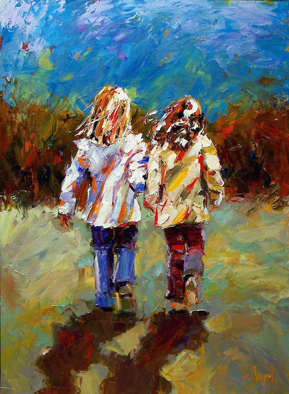 Girls Art Print featuring the painting Friends Forever by Debra Hurd