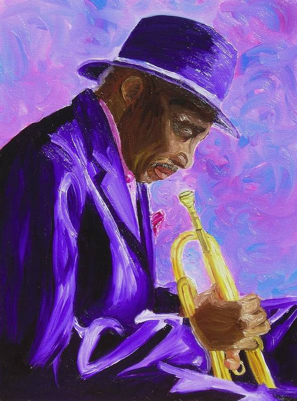 Street Musician Trumpet Player Art Print featuring the painting From The Soul by Michael Lee