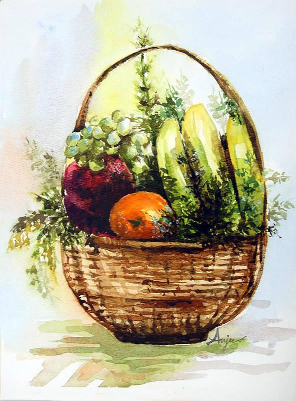 Fruits Art Print featuring the painting Fruit Basket by Anju Saran