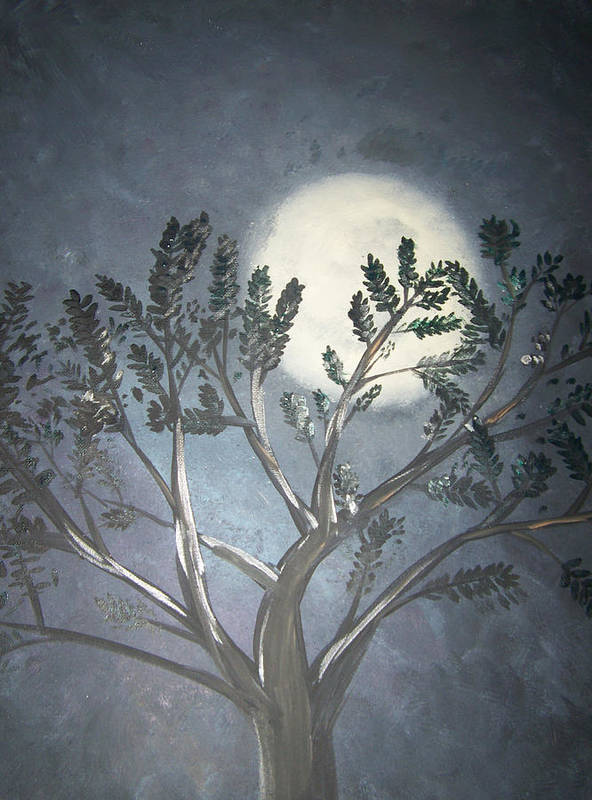 Moon Art Print featuring the painting Full Moon by Patti Spires Hamilton