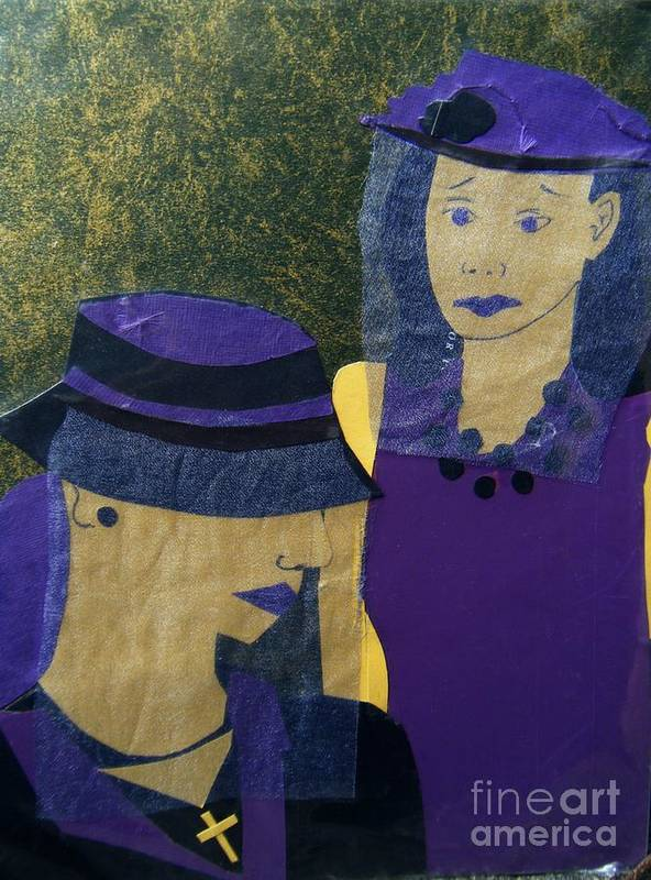 Purple Art Print featuring the mixed media Funeral Masks by Debra Bretton Robinson