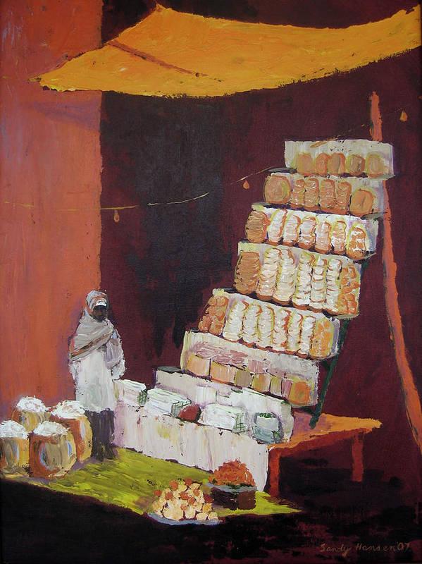 Cityscape Art Print featuring the painting Gajak Sweet Shop by Art Nomad Sandra Hansen