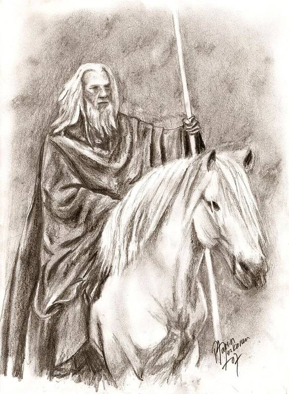 The Lord Of The Rings Art Print featuring the drawing Gandalf With Shadowfax by Maren Jeskanen