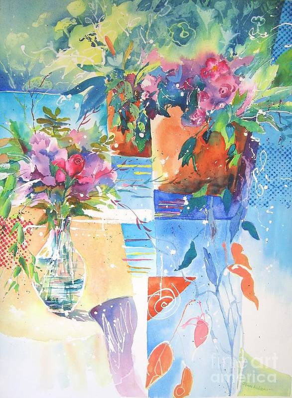 Abstract Paintings Art Print featuring the painting Garden Pool by John Nussbaum