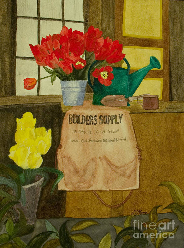 Tulips Art Print featuring the painting Gardner by Louise Magno