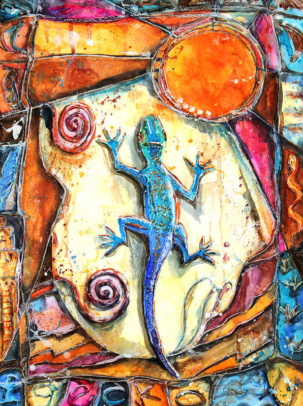 Lizard Print featuring the painting Gecko by Patricia Allingham Carlson