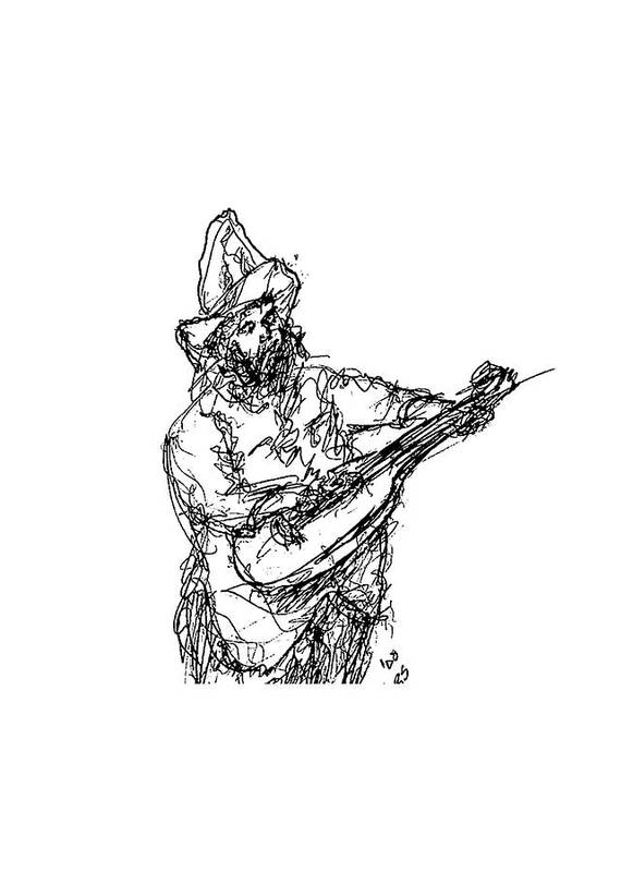 Jazz Art Print featuring the drawing Gentleman Guitarist by Sam Chinkes
