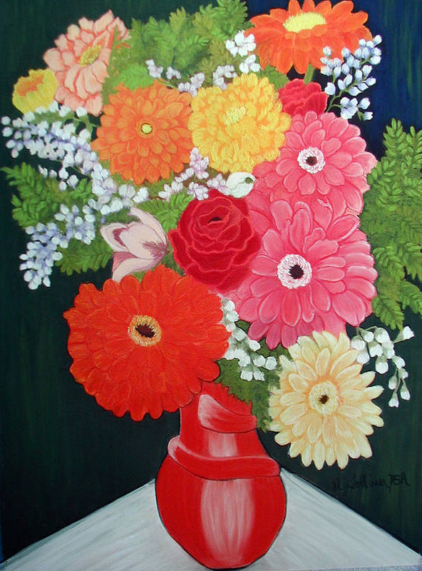 Floral Art Print featuring the painting Gerbera Daisy Bouquet by Norma Tolliver