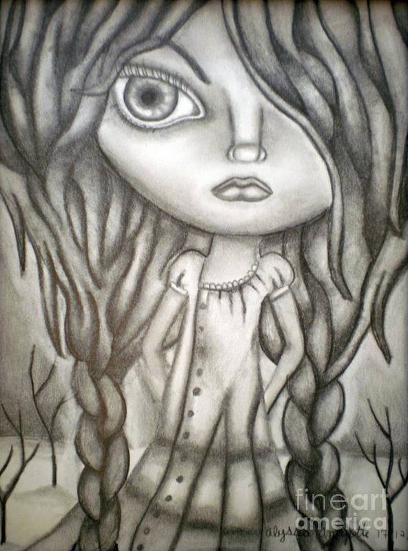 Surreal Art Print featuring the drawing Girl by Alyssa Lyne