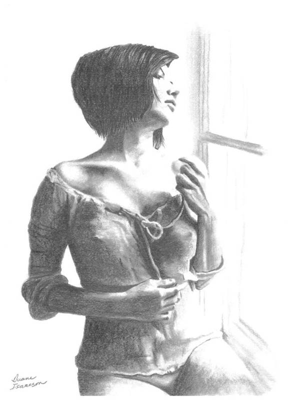 Girl Art Print featuring the drawing Girl At Window by Duane Isaacson