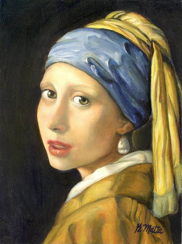 Vermeer Recreation Art Print featuring the painting Girl With A Pearl Earring by Gretchen Matta