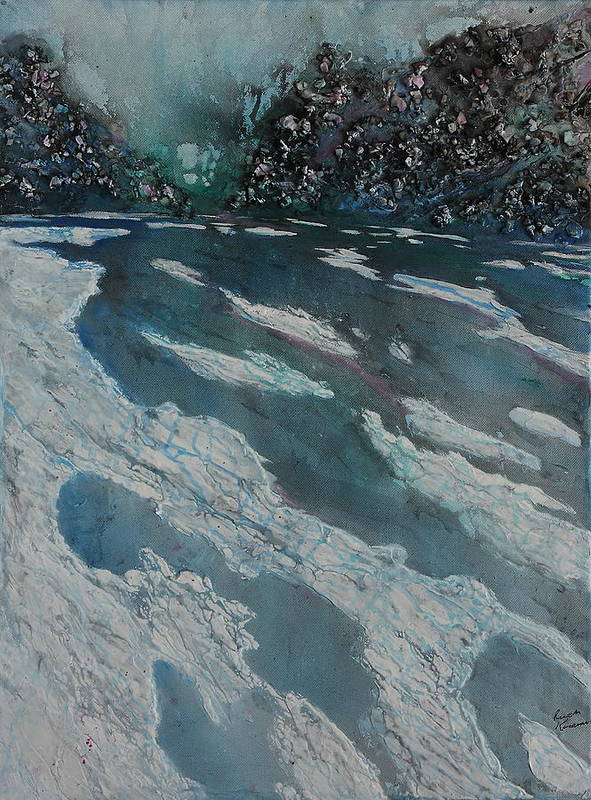 Ice Art Print featuring the painting Glacial Moraine by Ruth Kamenev