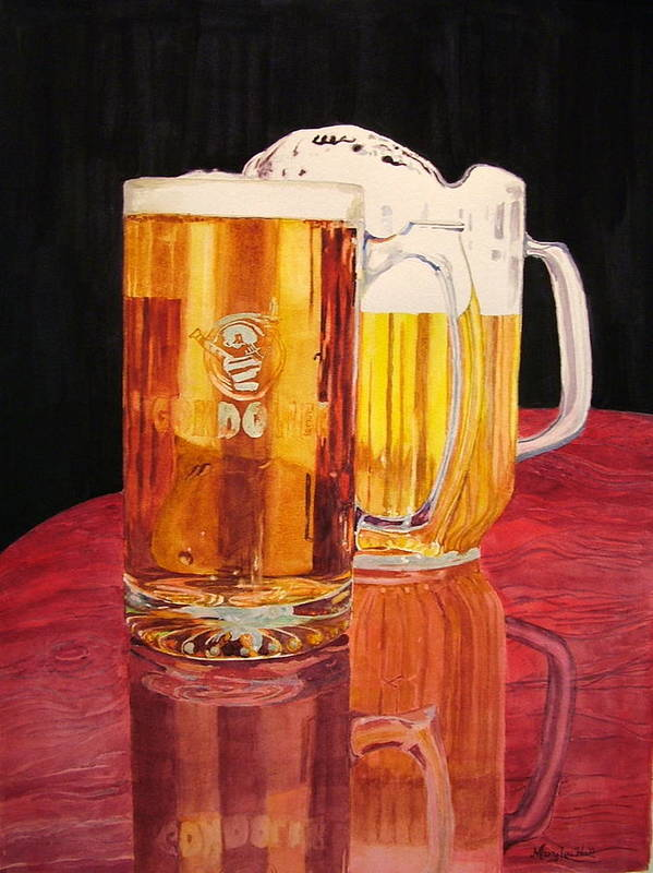 Beer Art Print featuring the painting Glass Wood Light And Beer by Mary Lou Hall