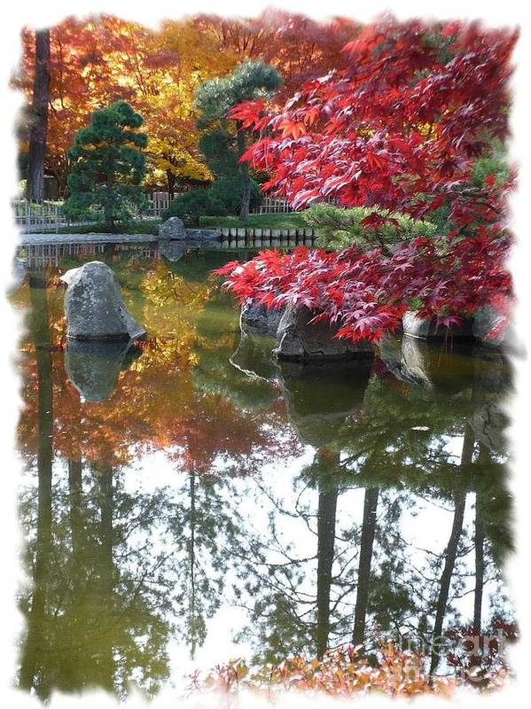 Autumn Art Print featuring the photograph Glorious Fall Colors Reflection With Border by Carol Groenen