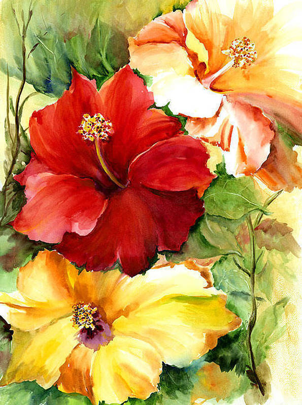 Flower Art Print featuring the painting Glorious Hibiscus by Priscilla Powers