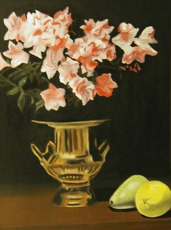 Still Life Art Print featuring the painting Gold Vase With Fruit by Angelo Thomas