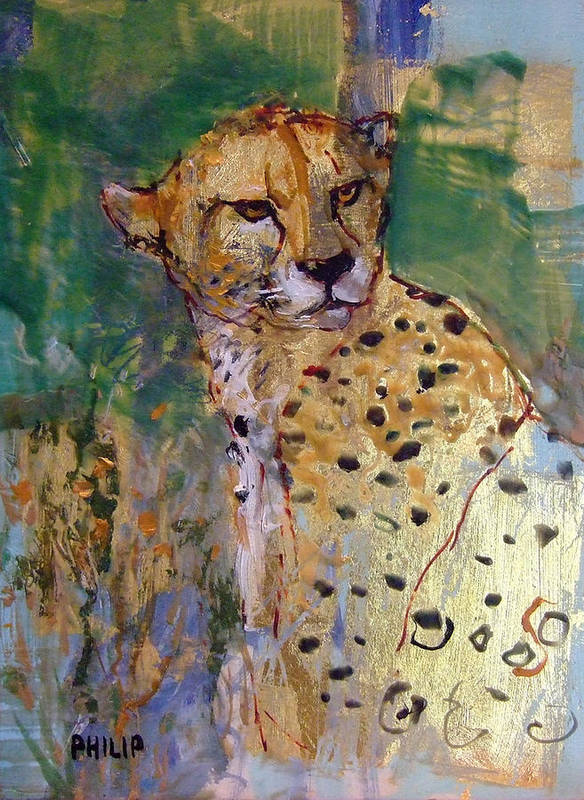 Cheetah Art Print featuring the painting Golden Cheetah by Michelle Philip