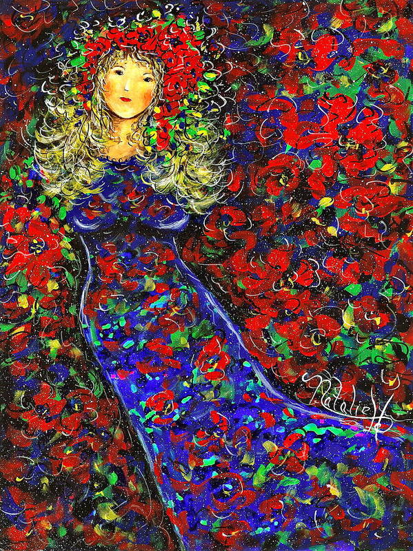 Woman Art Print featuring the painting Golden Girl by Natalie Holland
