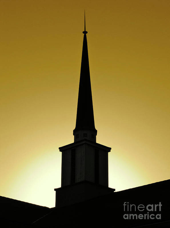 Cml Brown Art Print featuring the photograph Golden Sky Steeple by CML Brown