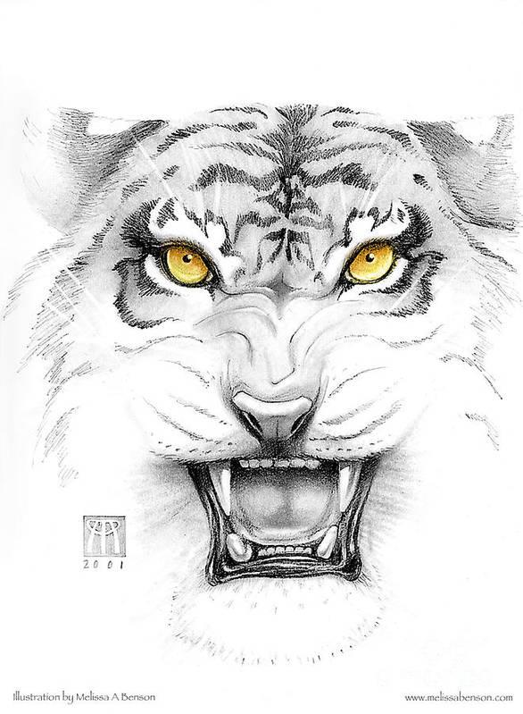 Amber Art Print featuring the digital art Golden Tiger Eyes by Melissa A Benson