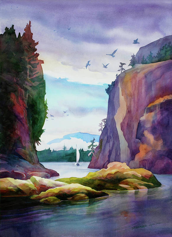 This Is The Dramatic Entrance To The Gorge Harbour On Cortes Island Art Print featuring the painting Gorge Entrance View by Dianne Bersea