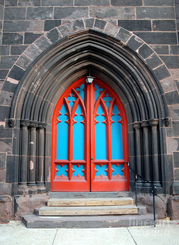 Architecture Art Print featuring the photograph Gothic Church Door by Walter Oliver Neal